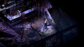 Disco Elysium - The main character singing on a stage beneath a blue light while patrons of the Whirling In Rags bar listen.