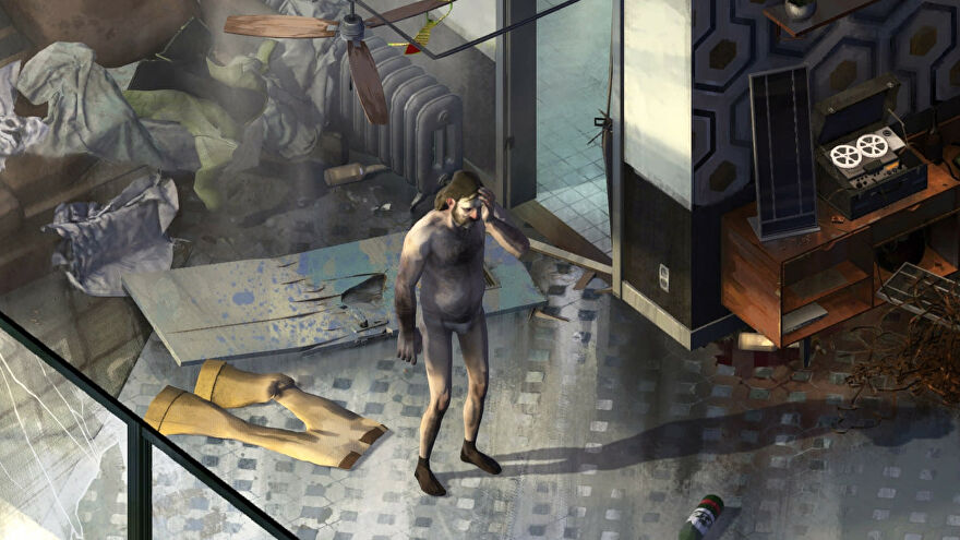 Hanging out in our pants in a Disco Elysium screenshot.