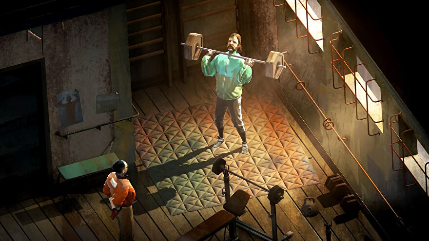 Harry Du Bois from Disco Elysium The Final Cut lifting weights