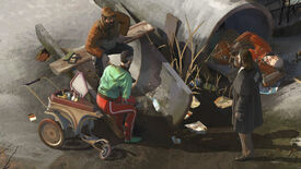 Three men around old concrete pipes in a Disco Elysium screenshot.