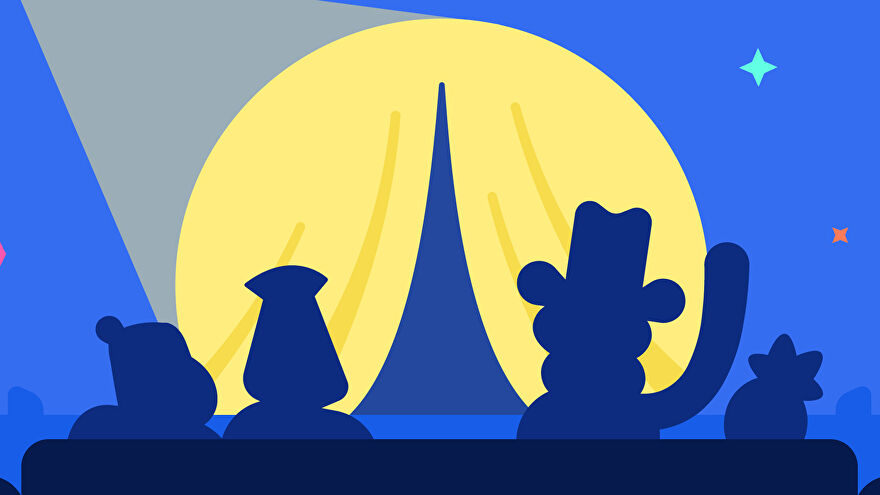 A graphic representing Discord's new stage channels, showing four characters in silhouette on a couch facing away, towards a parting stage curtain upon which shines a spotlight.