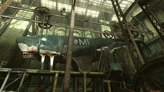 A dead whale is strung up in a warehouse in Dishonored