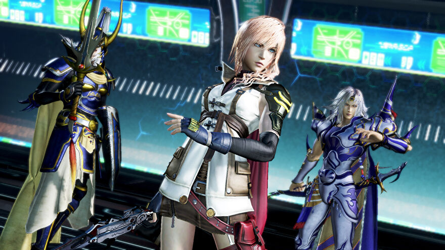 An image from Dissidia Final Fantasy NT which shows a squad of three characters from the series lined up and looking ready for a fight.