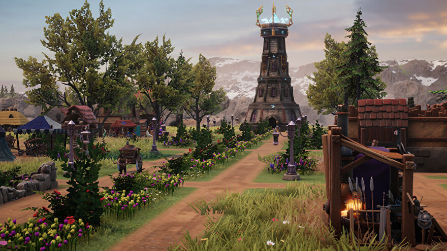 Distant Kingdoms - A street-level view of a fantasy medieval village with dirt roads lined with cottages and flowers leading to a magical tower.