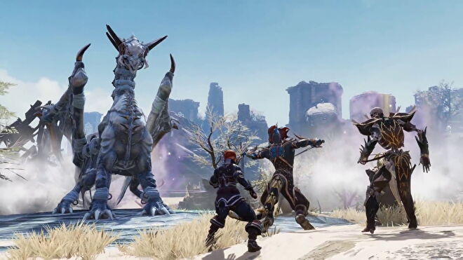 A group of players fight an ice dragon in a ruined plain in Divinity: Original Sin 2