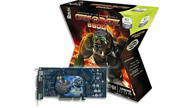 A cross-shaped graphics card box for an Nvidia GeForce 6800 with a mean looking dog on the front