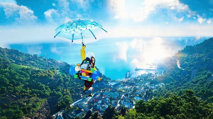 The player glides across DokeV's world on an umbrella.