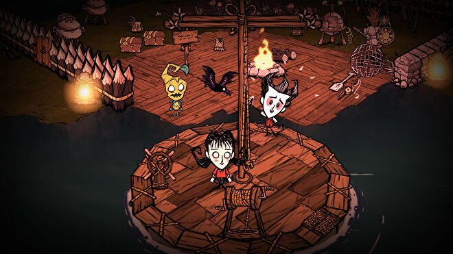 Three characters gather together in a treehouse in Don't Starve Together