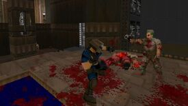 Doom II mod - Doom Fighters - In third person, the Doom Slayer punches an enemy, spraying blood everywhere.