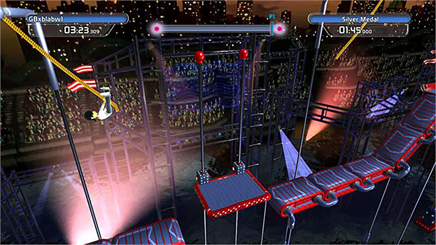 A screenshot from Doritos Crash Course where the player is swinging from a rope and about to land on a floating platform