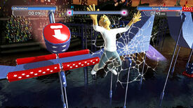 A screenshot from Doritos Crash Course where the player has been smacked by one of the game's big foam hammers and is now smashed against the screen