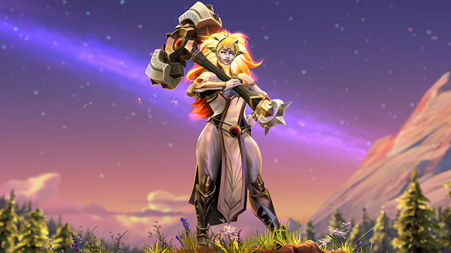 Dota 2's Dawnbreaker poses with her giant hammer in a wallpaper.