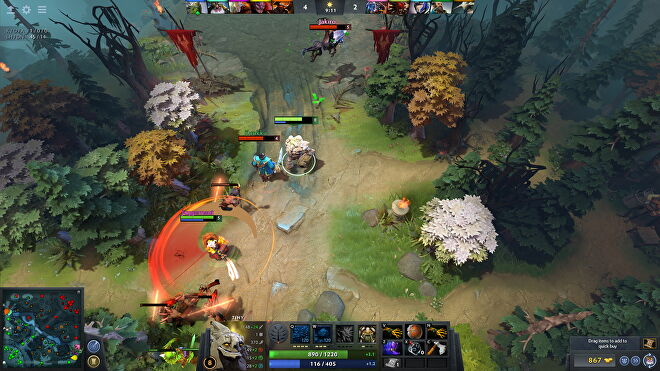 Players duke it out in a forest in Dota 2.