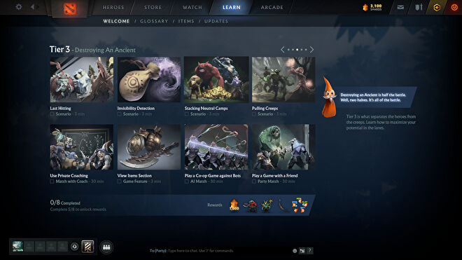 A Dota 2 screenshot showing a selection of the new tutorials.