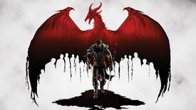 Dragon Age 2 key art of Hawke stood in front of a bloody red dragon.