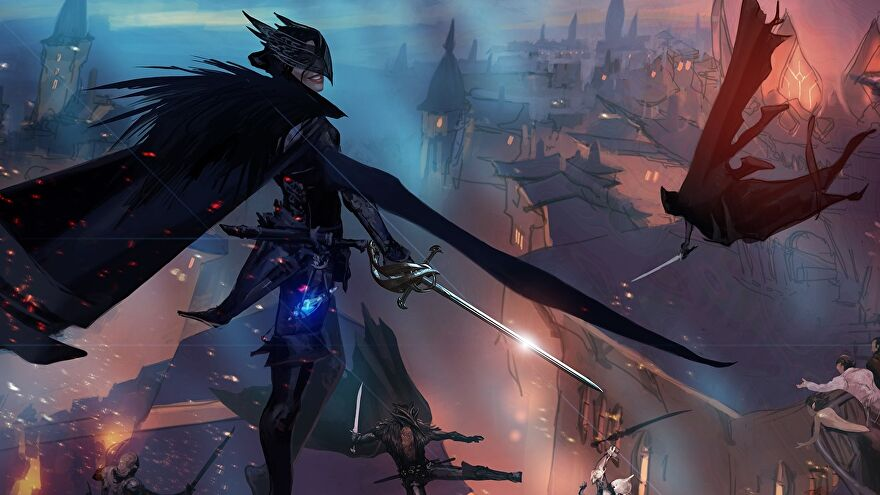 Dragon Age 4 concept art - An Antivan Crow assassin stands on top of a biulding wearing a winged mask, a cloak, and carrying a sabre. Other crows leap through the air below, along the rooftops of a city.