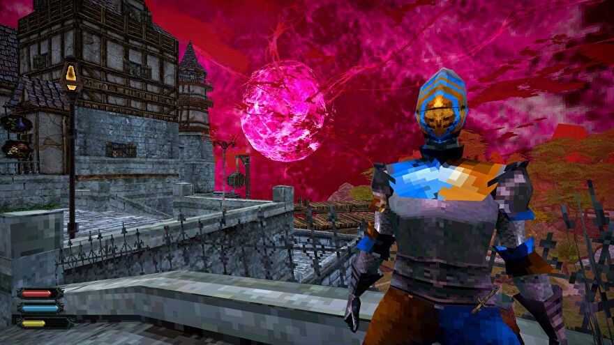 A Dread Delusion screenshot showing a town guard standing before the neuron star.