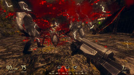A screenshot of Dread Templar, a Quake-like FPS showing some zombies and a demon spider spraying blood while being shot by the player.