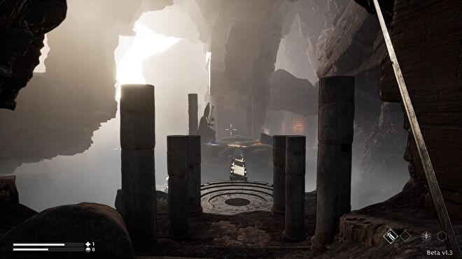 From a first-person perspective, Morgan enters a cavernous chamber in Dream Cycle.