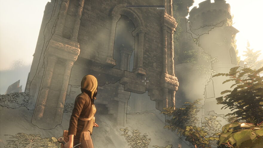 Morgan stands next to a towering structure in Dream Cycle.