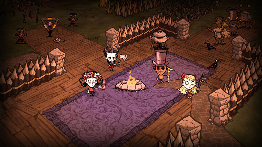 Four Don't Starve Together characters stand by the fire in their constructed base.