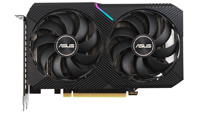a photo of a cute rtx 3060 asus dual oc graphics card