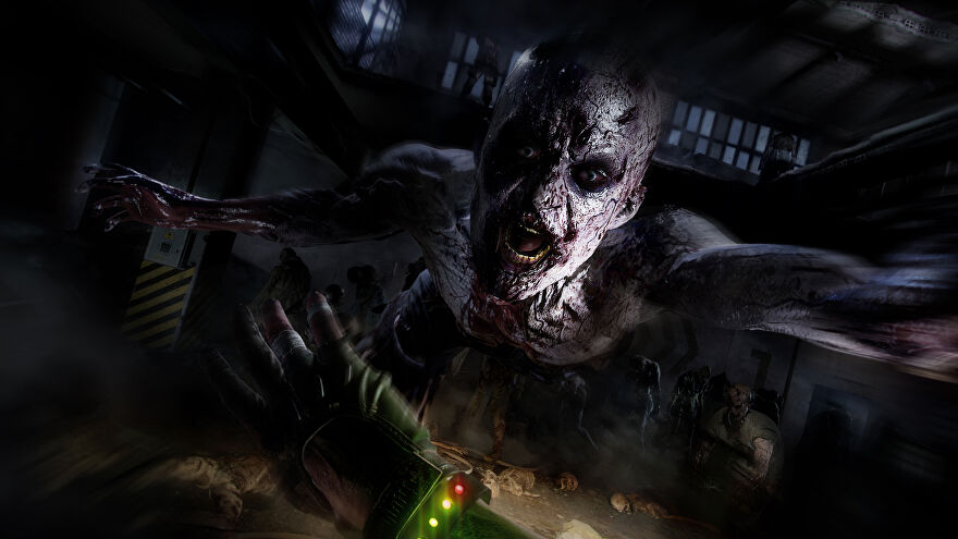 A zombie lunges at the player in a Dying Light 2 screenshot.