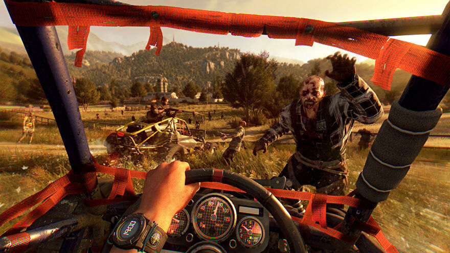 Dying Light - A player drives a vehicle towards multiple attacking infected.