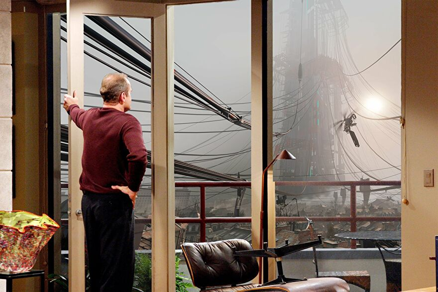 Frasier looking at the City 17 skyline from his apartment.