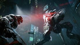A screenshot of Crysis 2 (Remastered?) showing a dude in a nanosuit facing down a tripod robot in the rain.