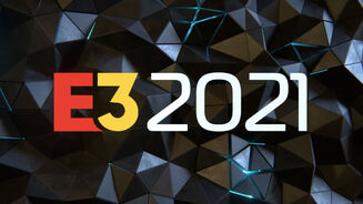 E3 2021 logo in front of a silver-coloured, crystallised background