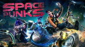 Artwork for Space Punks, showing four characters side by side as they strike different poses
