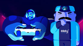 An illustration of a person on a couch playing a game alongside a man in an Easy Anti-Cheat uniform blowing a whistle like a referee.