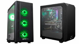 A photo of two gaming PCs side by side