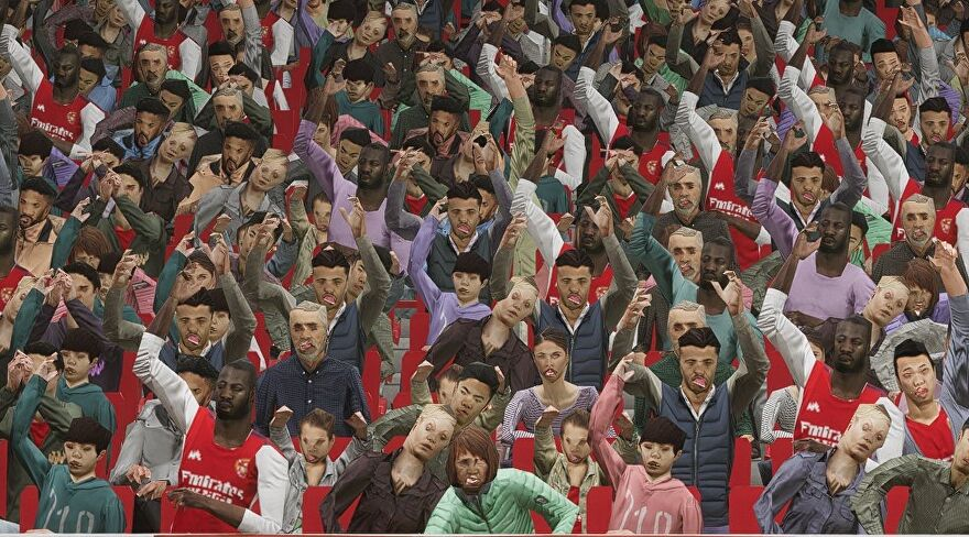 A screenshot of the low poly crowd in eFootball 2022.