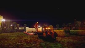 A screenshot of El Paso, Elsewhere showing what looks like a graveyard with low resolution textures. A man lies on his back on the ground firing akimbo pistols at a shambling monster.