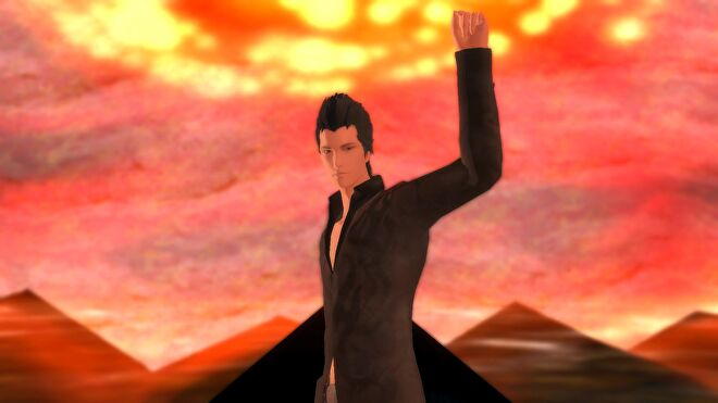 Lucifel points to the sky in El Shaddai.