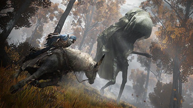A warrior on a horse circles a giant hooded monster with tendrils pouring out from beneath their veil in an Elden Ring screenshot.