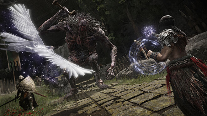 Summoning a bird with magic in a fight against a withered giant in an Elden Ring screenshot.
