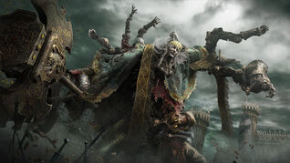 A regal mutant with many, many limbs and a giant hammer in an Elden Ring screenshot.