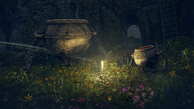 Urns with arms and legs amid overgrown ruins in an Elden Ring screenshot.
