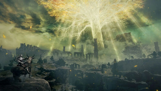 A giant glowing tree in the centre of a ruined landscape in an Elden Ring screenshot.