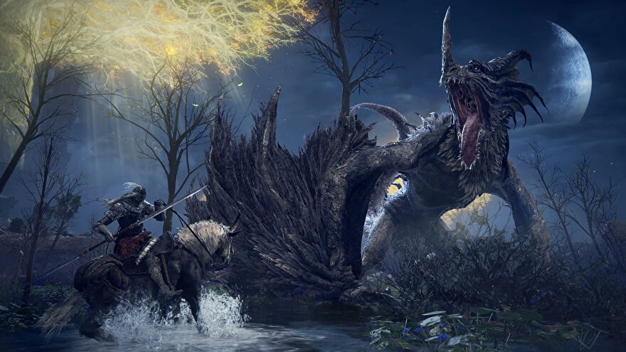 On horseback, the player fights a dragon in Elden Ring.