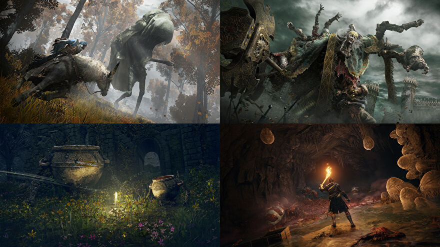 A montage of four Elden Ring screenshots.