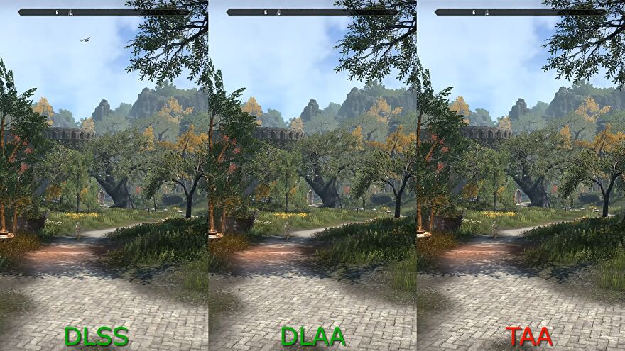A spliced-together screenshot of The Elder Scrolls Online, showing the game running with DLSS, DLAA and TAA anti-aliasing respectively.