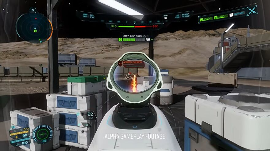 Elite Dangerous: Odyssey - In first person, a player aims a scoped space rifle at another character while a bar for capturing point Charlie fills up.