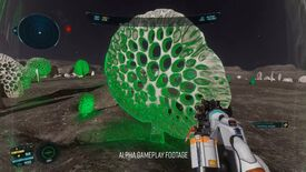 Elite Dangerous: Odyssey alpha footage - In first-person, a player holds a genetic sampling gun in the direction of a large surface flora while the scanner highlights it. The large species is taller than the player, a large disc shape with holes throughout.