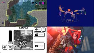A selection of screenshots from the Day Of The Devs games, in clockwise order: Axiom Verge 2, A Musical Story, Toem and Vokabulantis.