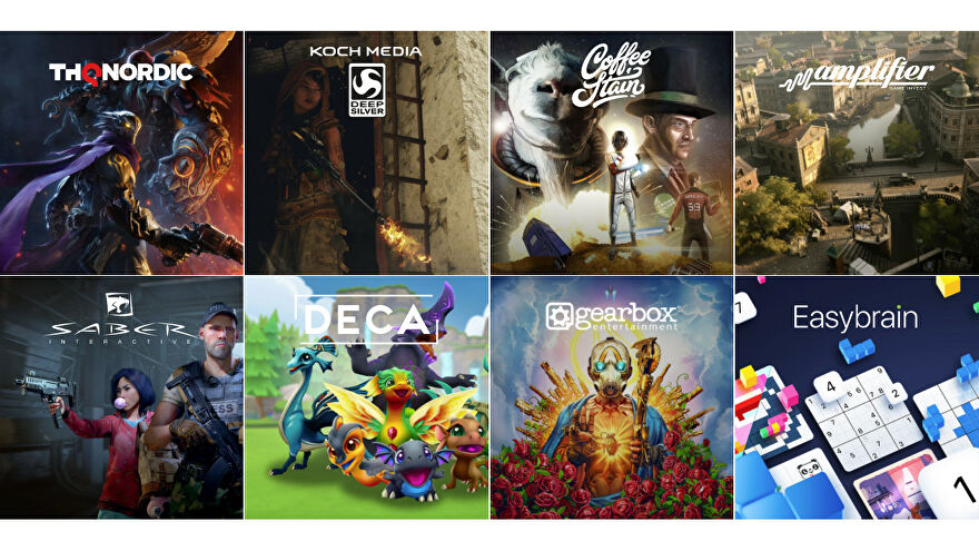 Logos and artwork for the eight operating groups under Embracer Group.