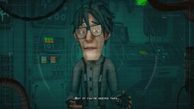 A screenshot of Encodya, a point-and-click adventure game set in a cyberpunk future Berlin.